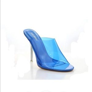 Blue Transparent Mule Heels